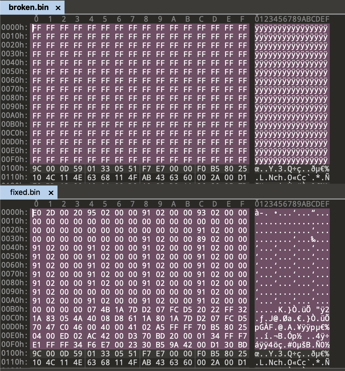 A screenshot of a hex editor comparing two files, the first one showing empty values for the first 256 bytes